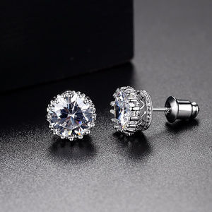 Crown CZ Stud Earrings.